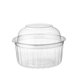 BOWL PLASTIC CLEAR ROUND 12OZ HINGED DOME LID  250S 25S(10) #CA-4012DL MPM