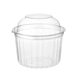 BOWL PLASTIC CLEAR ROUND 16OZ HINGED DOME LID  250S (10) #CA-4016DL