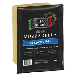 CHEESE MOZZARELLA BLOCK PERFECT ITALIANO 5KG(4) FIA #3101565 FONTERRA