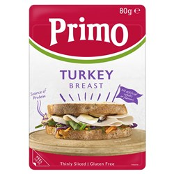 TURKEY BREAST SLICED THIN (8 X 80GM) #1658 PRIMO