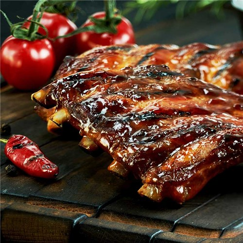PORK RIBS COOKED HALVES USA R/W APPROX 2KG (5) #8001100 GLOBAL MEATS