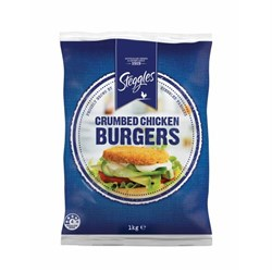 BURGER CHICKEN CRUMBED 1KG(6 ) #56613 STEGGLES