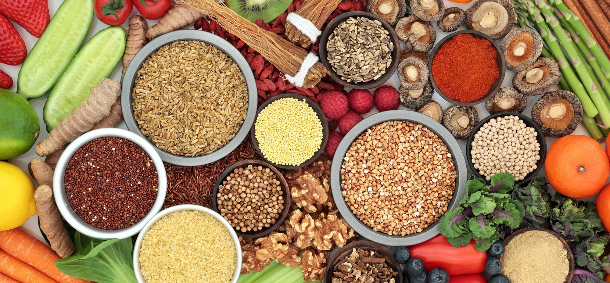 Different grains are pictured which meet various dietary requirements