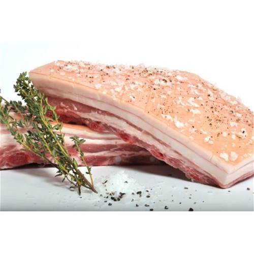 PORK BELLY BONELESS RIND ON FROZEN R/W APPROX 4KG